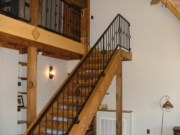 Mortise & Tenon Log and Timber Stairway