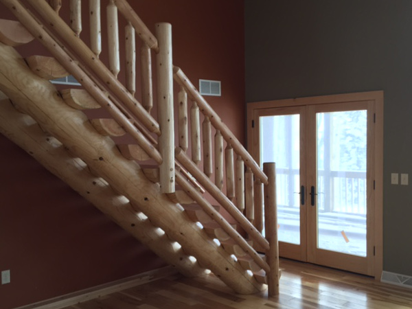 Dual cope log stairs