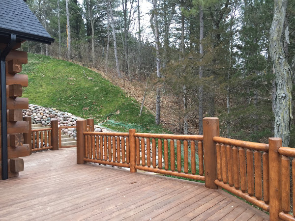 Log railing view from deck